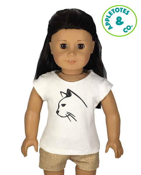"Sleek Cat Head Machine Embroidery File for 18"" Dolls"
