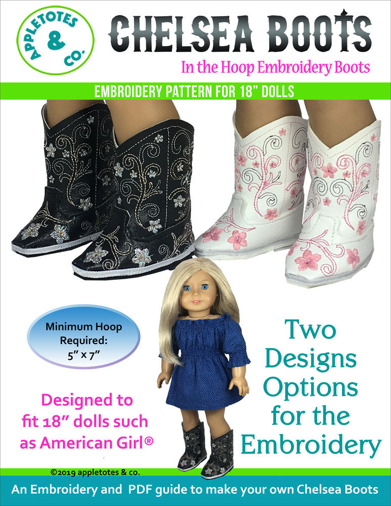 Chelsea Cowboy Boots ITH Embroidery Patterns for 18