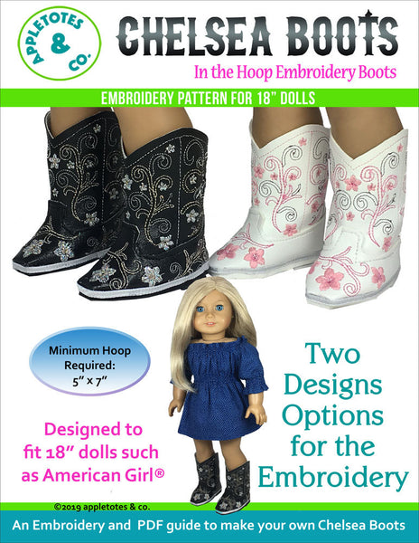 "Chelsea Cowboy Boots ITH Embroidery Patterns for 18"" Dolls"