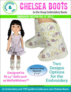 "Chelsea Cowboy Boots ITH Embroidery Patterns for 14"" Dolls"