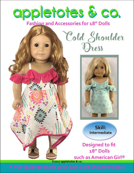 "Cold Shoulder Dress Sewing Pattern for 18"" Dolls"