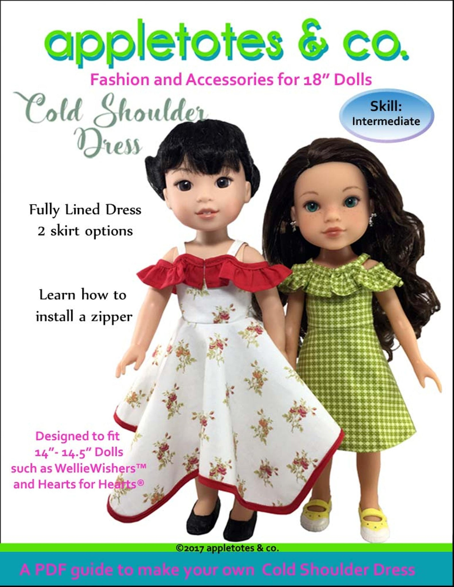 "Cold Shoulder Dress Sewing Pattern for 14"" Dolls"