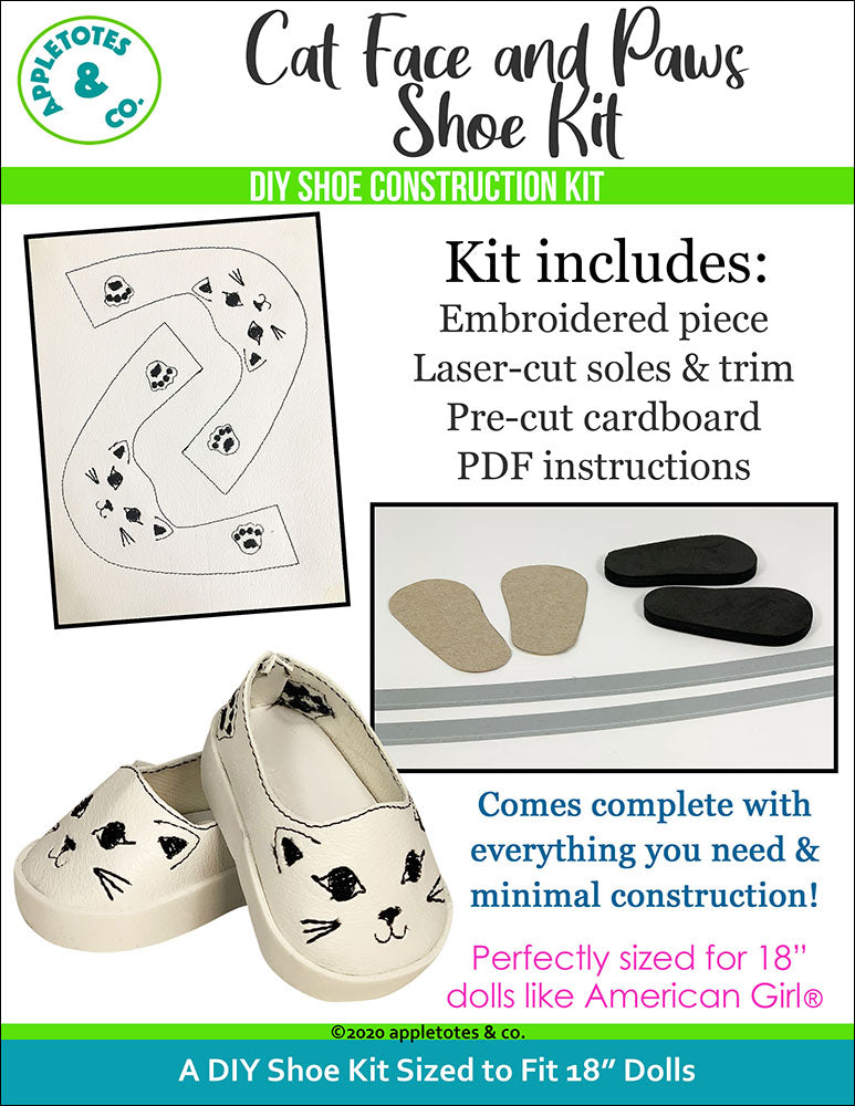 Cat Face and Paws Animal Flat Embroidery Kit Pack
