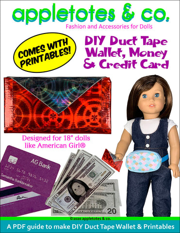 DIY Duct Tape Wallet for 18 Inch Dolls - Free Printables Included