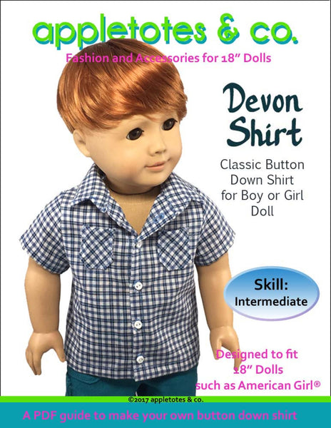 "Devon Button-Down Shirt Sewing Pattern for 18"" Dolls"