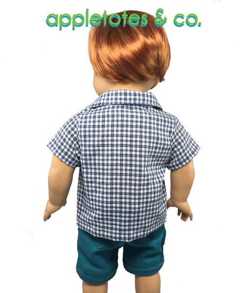 "April Special: Half Off Devon Button-Down Shirt Sewing Pattern for 18"" Dolls"