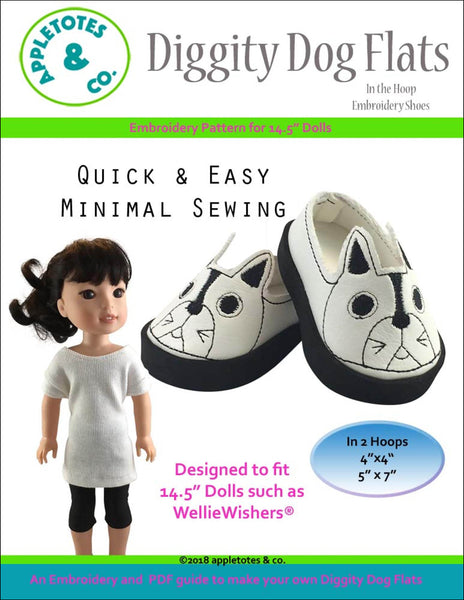 "Diggity Dog Flats ITH Embroidery Patterns for 14.5"" Dolls"