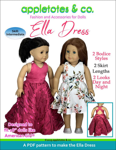 "Ella Dress Sewing Pattern for 18"" Dolls"