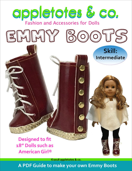"October Special Half Off: Emmy Boots Sewing Pattern for 18"" Dolls"