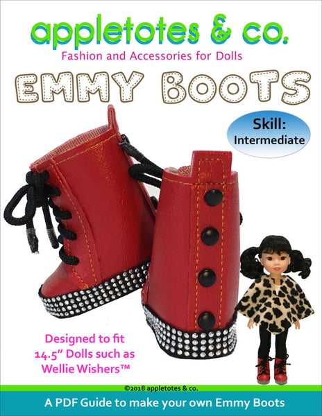 "Emmy Boots Sewing Pattern for 14.5"" Dolls"