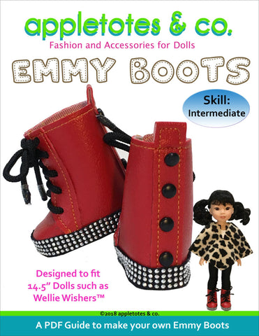 "Emmy Boots Sewing Pattern for 14"" Dolls"