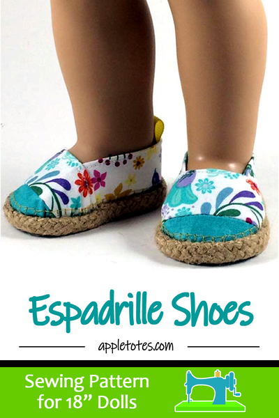 "Espadrille Shoes Sewing Pattern for 18"" Dolls"