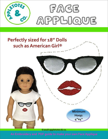 "Face Sunglasses Applique Machine ITH Embroidery File for 18"" Dolls"