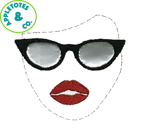 "Face Sunglasses Applique Machine Embroidery File for 18"" Dolls"
