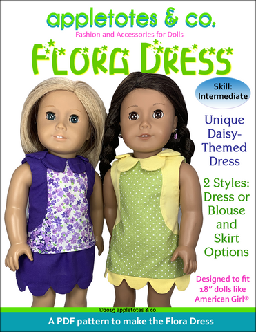 "Flora Dress Sewing Pattern for 18"" Dolls"