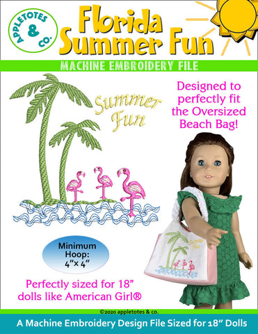 Florida Summer Fun Machine Embroidery File for 18 Inch Dolls