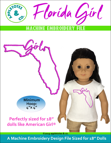 "Florida Girl Machine Embroidery File for 18"" Dolls"