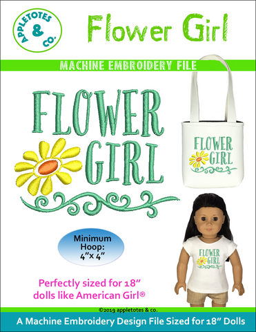 "Flower Girl Machine Embroidery File for 18"" Dolls"