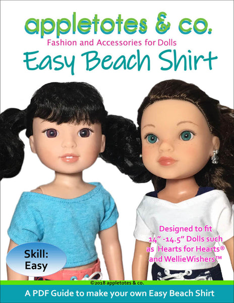 Free Easy Beach Shirt Sewing Pattern for 14.5 Inch Dolls