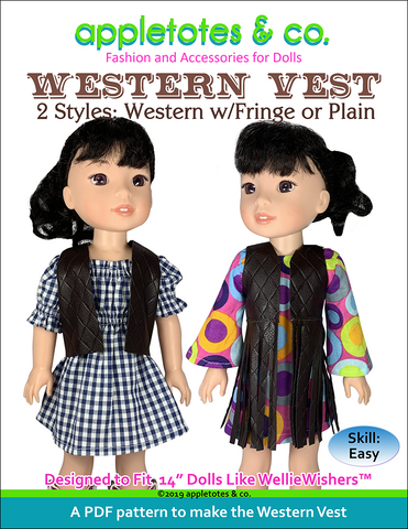 "Free Western Vest Sewing Pattern for 14"" Dolls"