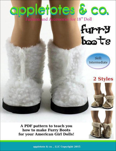 "Furry Boots Sewing Pattern for 18"" Dolls"