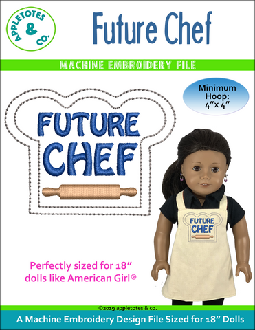 "Future Chef Machine Embroidery File for 18"" Dolls"