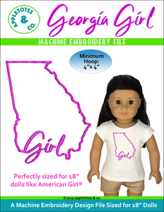 "Georgia Girl Machine ITH Embroidery File for 18"" Dolls"
