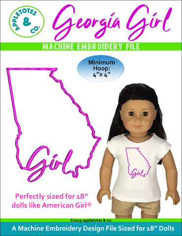 "Georgia Girl Machine Embroidery File for 18"" Dolls"