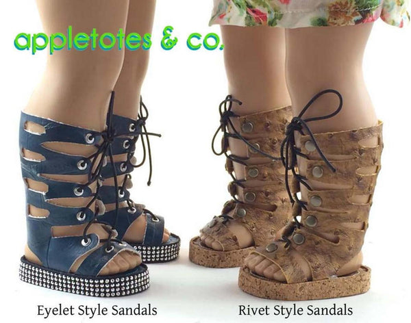 "High Fashion Gladiator Sandals Sewing Pattern for 18"" Dolls"