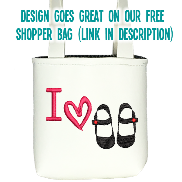 "I Love Shoes Machine Embroidery File for 18"" Dolls"