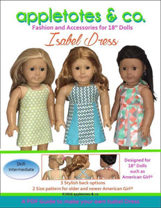 "Isabel Halter Top Dress Sewing Pattern for 18"" Dolls"