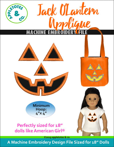 "Jack O'Lantern Halloween Applique for 18"" Dolls"