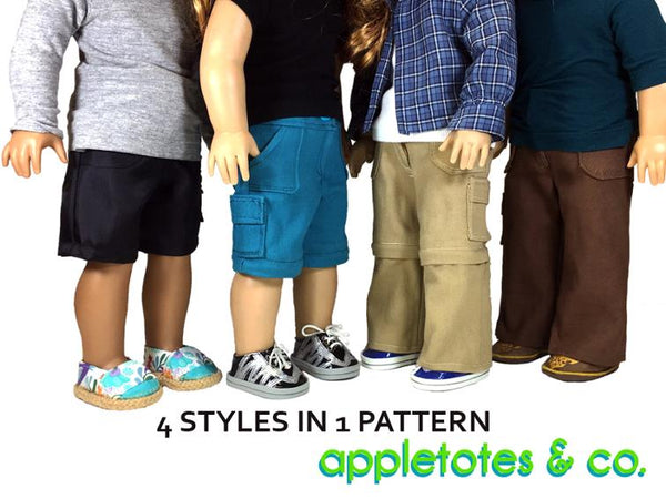 "Jamie Convertible Pants Sewing Pattern for 18"" Dolls"