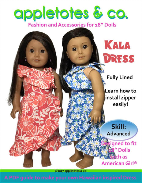 "Kala Hawaiian Dress Sewing Pattern for 18"" Dolls"