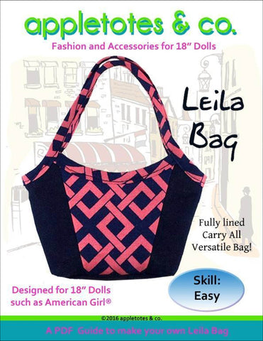 "Leila Handbag Sewing Pattern for 18"" Dolls"
