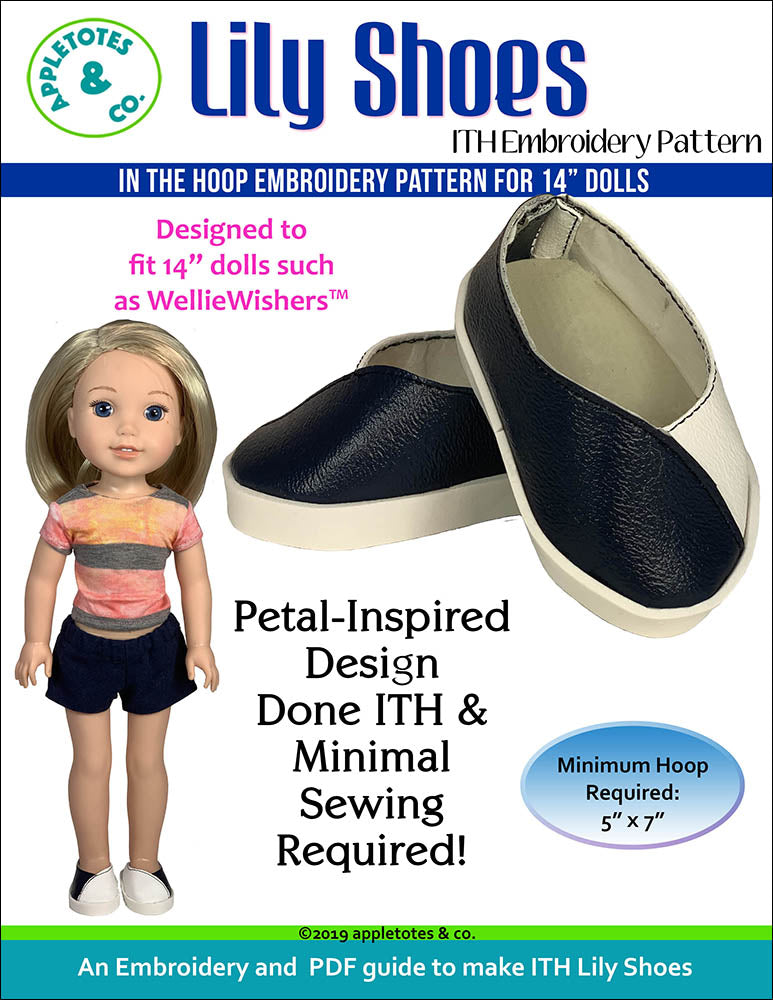 Lily Shoes ITH Embroidery Patterns for 14 Inch Dolls