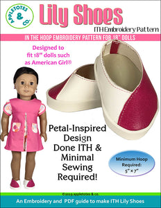Lily Shoes ITH Embroidery Patterns for 18 Inch Dolls