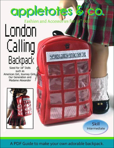 "London Calling Backpack Sewing Pattern for 18"" Dolls"