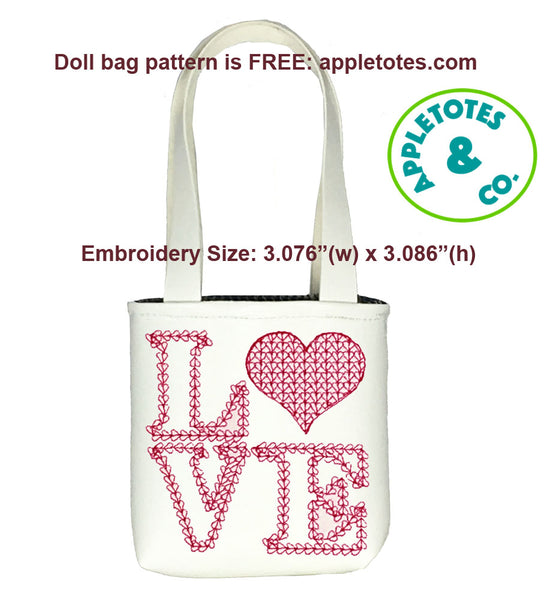 "Love Motif Hearts Machine ITH Embroidery File for 18"" Dolls"