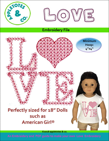 "Love Motif Hearts Machine Embroidery File for 18"" Dolls"