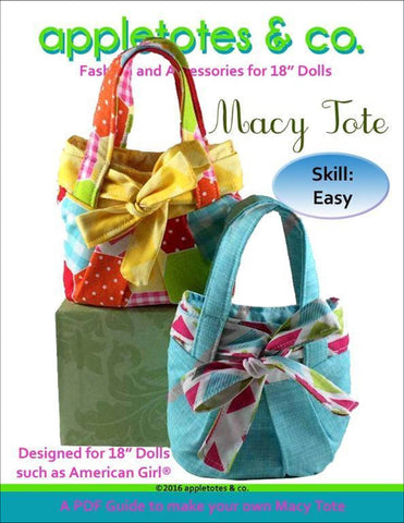 "Macy Tote Bag Sewing Pattern for 18"" Dolls"