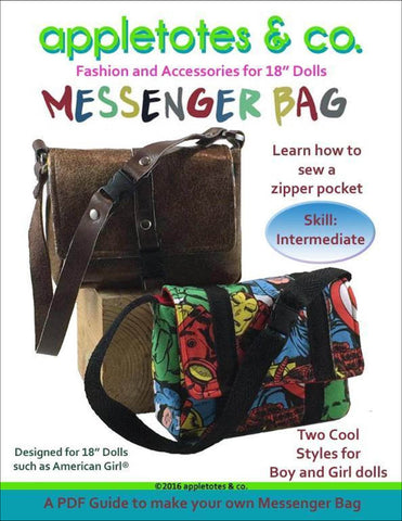 "Messenger Bag Sewing Pattern for 18"" Dolls"