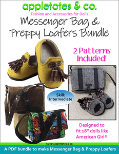 "Messenger Bag and Preppy Loafers Sewing Pattern Bundle for 18"" Dolls"