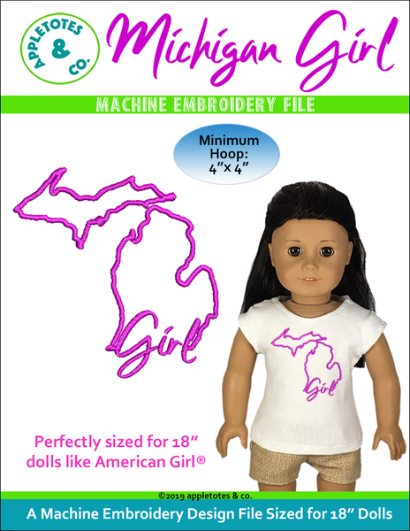 "Michigan Girl Machine Embroidery File for 18"" Dolls"