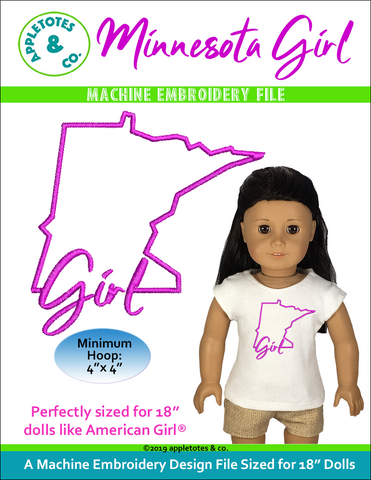 "Minnesota Girl Machine Embroidery File for 18"" Dolls"
