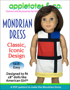 "Mondrian Dress Sewing Pattern for 18"" Dolls"