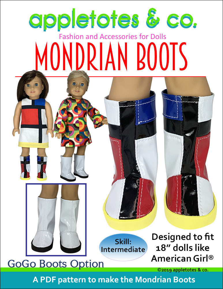 Mondrian Boots Sewing Pattern for 18