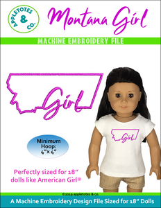 "Montana Girl Machine Embroidery File for 18"" Dolls"