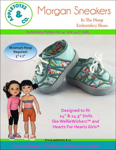 "Morgan Sneakers ITH Embroidery Pattern for 14.5"" Dolls"
