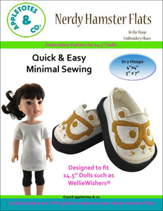 "Nerdy Hampster Flats ITH Embroidery Patterns for 14.5"" Dolls"